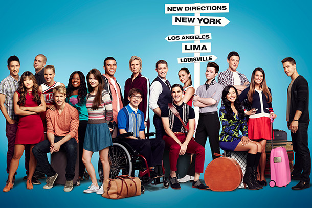 Glee | (From left) Harry Shum Jr., Jenna Ushkowitz, Mark Salling, Heather Morris, Chord Overstreet, Amber Riley, Melissa Benoist, Jacob Artist, Kevin McHale, Jane Lynch, Matthew Morrison,…