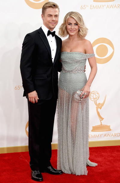 Derek Hough in Brooks Brothers and Julianne Hough in Jenny Packham