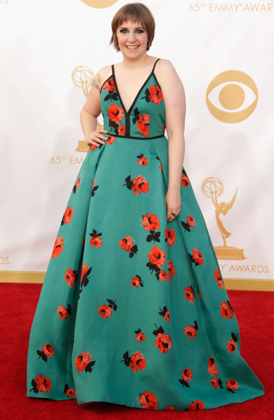 She said: Dunham gets my vote for most-improved Emmys style. Though I wasn't crazy about the floral print — or the matching green eye makeup…