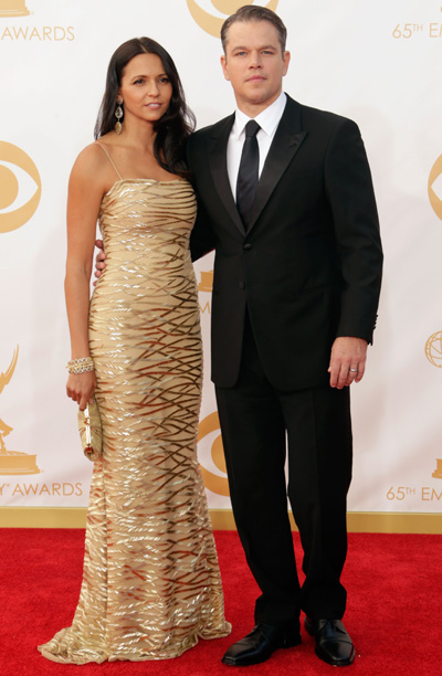 Matt Damon in Giorgio Armani and wife Lucy Barroso in Naeem Khan