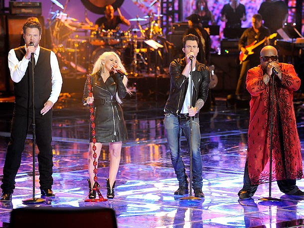 The Voice, Adam Levine, ... | Sure, there's a lot of spectacle to the show, and the idea of putting a bunch of artists together like this could have gone horribly…