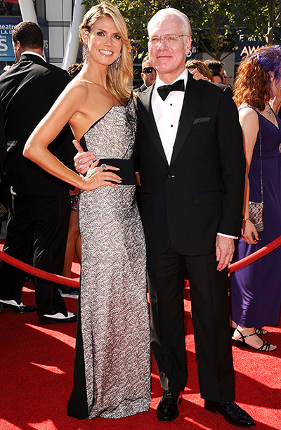 Heidi Klum (in Roland Mouret) and Tim Gunn