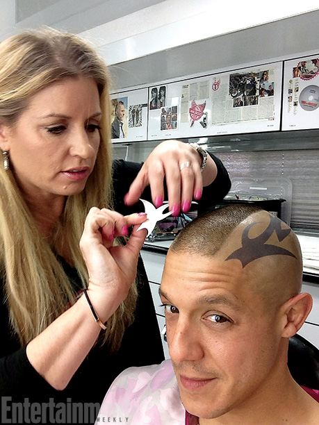 Sons of Anarchy | ''I am so OCD about the tattoo placement, so she is extremely patient,'' says Sons of Anarchy star Theo Rossi (Juice) of makeup artist Michelle…