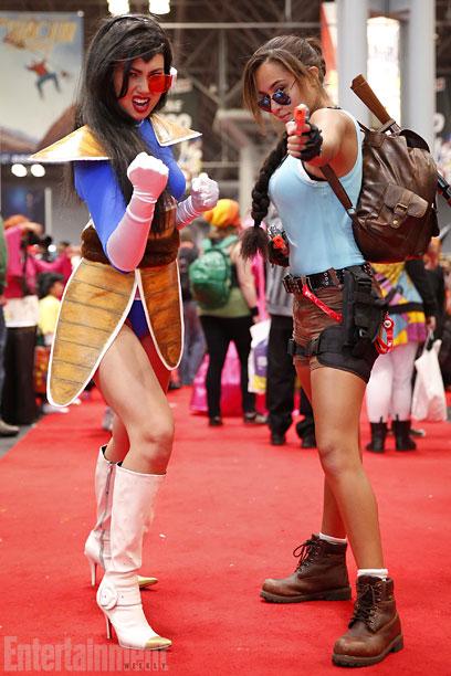 Vegeta from Dragon Ball Z and Lara Croft from Tomb Raider