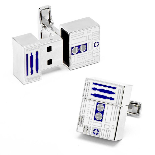Lovable astromech droid R2-D2 is just one of the Star Wars characters cast in enamel reincarnated as fully functioning USB cufflinks, the ne plus ultra…