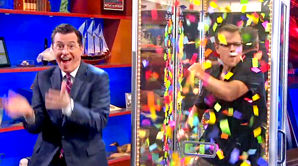 Matt Damon, Stephen Colbert, ... | The Colbert Report 's character-in-chief took the cancellation of a Daft Punk appearance and did what he does best: both tweak and honor the duo…