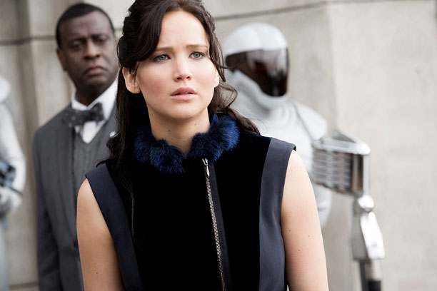 FIRED UP? Jennifer Lawrence reprises her role as Katniss Everdeen in the pleasant sequel Catching Fire .