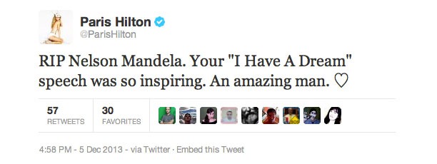 Paris Hilton Tweet