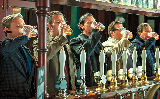 ENDING ON A HIGH NOTE Martin Freeman, Paddy Considine, Simon Pegg, Nick Frost, and Eddie Marsan throw a pint back before trying to save the…