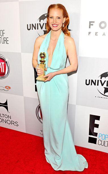 Style, Style: Red Carpet, ... | The sea-foam green shade of Chastain's custom Calvin Klein Collection gown was pretty, but the droopy, ill-fitting bodice didn't do her any favors.