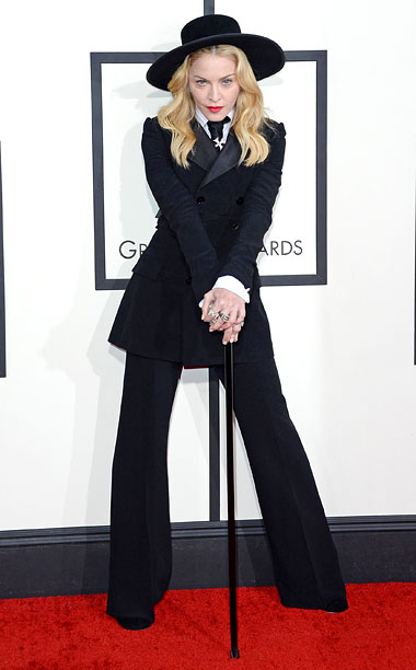Style, Grammy Awards, ... | Madge told Ryan Seacrest that her son David deserved the credit for her beautifully-tailored tuxedo. Too bad she ruined the look with those ridiculous accessories.…