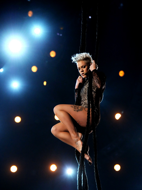 Grammy Awards, Grammy Awards 2014 | So maybe Nate Ruess didn't drop down from the ceiling on ropes, but Pink sure did — and then executed a mini modern dance performance…
