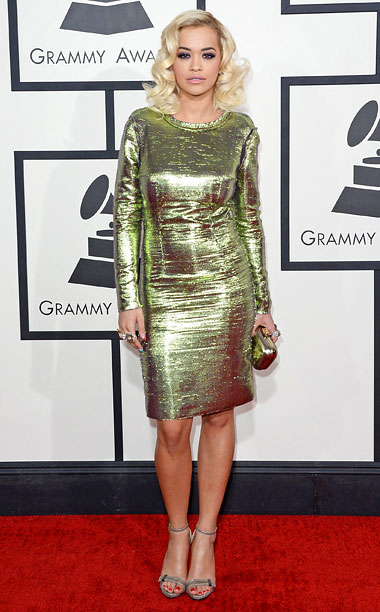 Style, Grammy Awards, ... | It got a little wrinkled in the limo, but I was still dazzled by Ora's green and lavender-tinged metallic dress. B+
