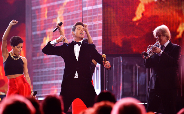 Grammy Awards, Grammy Awards 2014 | To keep the audience's older members entertained (plus serve as a tribute for producer Phil Ramone), Robin Thicke performed a medley of vintage hits with…