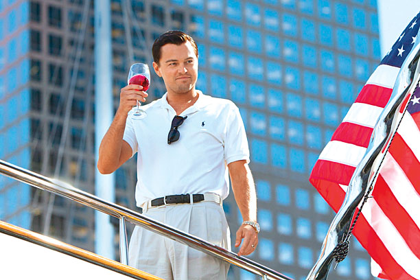 THE WOLF OF THE WORLD Leonardo DiCaprio is brilliant as Jordan Belfort in The Wolf of Wall Street .