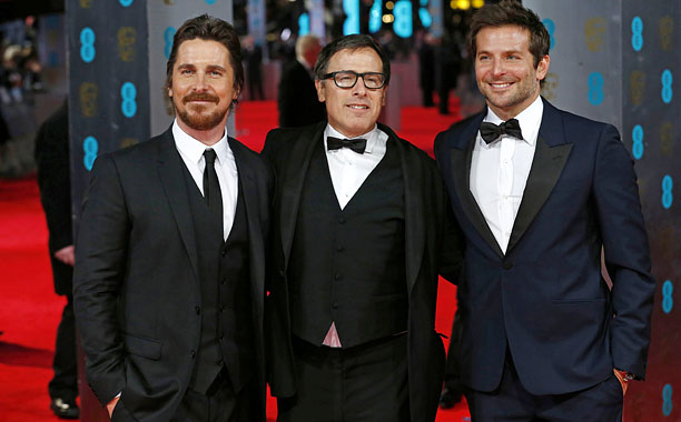 Christian Bale, David O. Russell, and Bradley Cooper