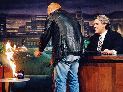 The Tonight Show With Jay Leno, Bobcat Goldthwait, ... | Aired: May 6, 1994 The antic comedian ignites the guest chair, later claiming that he was avenging the cancellation of The Arsenio Hall Show .…