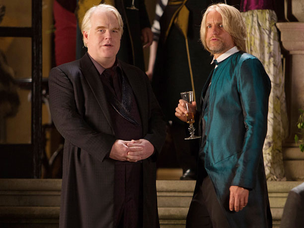 Philip Seymour Hoffman | Plutarch Heavensbee is his name, and making games is his...er...game. Hoffman does a graceful dance with Jennifer Lawrence's Katniss Everdeen at the start of this…