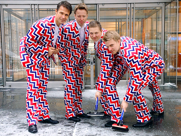 Winter Olympics 2014   Age: Less than a month old! Sport: Curling Team: Norway Fun Fact: Since the pants' debut in Vancouver in 2010, the Norwegian squad (from left:…