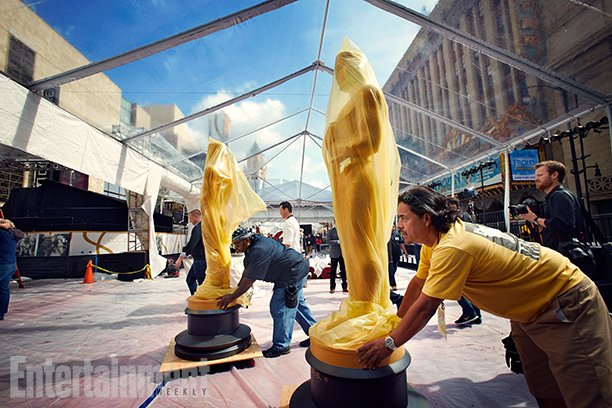 Supersized Oscar statues positioned at the Hollywood & Highland Center