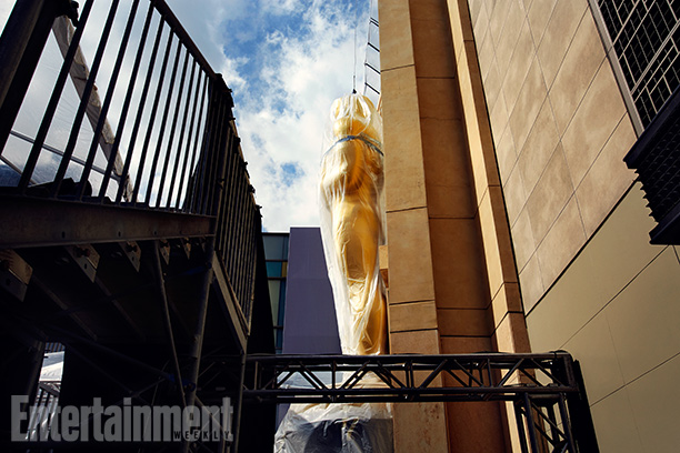 One very big Oscar (prop) is under wraps...for now