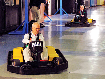 The Tonight Show With Jay Leno, Jay Leno, ... | Aired: April 8, 2005 The actor and racing enthusiast takes on Leno in the Indy 500 of go-cart races, handily winning a loop around the…