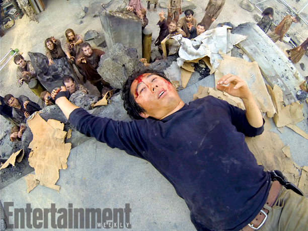 The Walking Dead | Things are not looking so hot for Glenn (Steven Yeun) right here. While he appears to have escaped the herd of zombies assembled below, what…