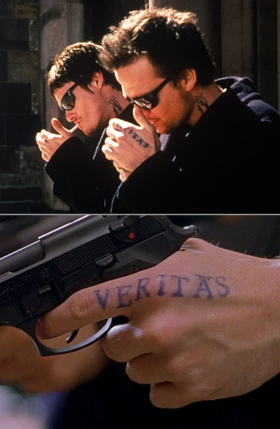 The MacManus brothers don black gloves for most of their vigilante missions. Saved for the final scene is the striking image of their tattooed hands…