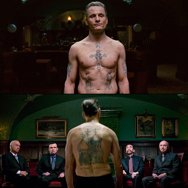 The Russian mafia cleaner's jacked-up, Cyrillic art-laden body was on full display several times during Eastern Promises . We'd tell you about them if we…