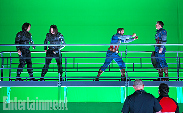 Captain America: The Winter Soldier | Seeing double (from left): Winter Soldier Sebastian Stan, a Winter Soldier stunt double, a Captain America stunt double, and Chris Evans all line the set.