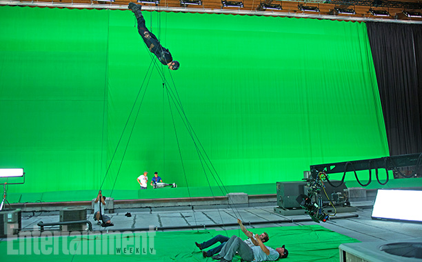 Captain America: The Winter Soldier | Captain America (Chris Evans) in a flying dive.