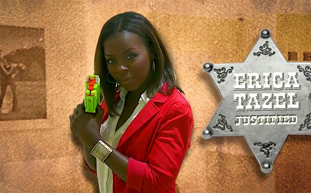 Justified Watch Erica Tazel Take Aim In Ew S Tv Star Shootout Ew Com We are pleased to present below all posts tagged with 'erica tazel'. justified watch erica tazel take aim