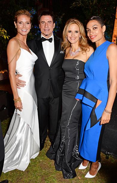 Heidi Klum, John Travolta, Kelly Preston, and Rosario Dawson