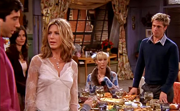 Friends   ''I Hate Rachel'' Club (shown) When Ross's old friend Will (Jennifer Aniston's then-husband Brad Pitt) joins the friends for Thanksgiving, Rachel is upset to find…
