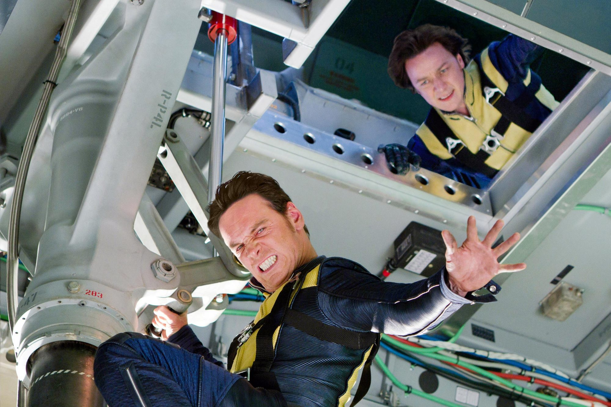 X-MEN: FIRST CLASS, from left: Michael Fassbender, James McAvoy, 2011. ph: Frank Masi/TM and Copyrig