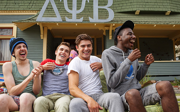 Christopher Mintz-Plasse, Dave Franco, Zac Efron, and Jerrod Carmichael in Neighbors