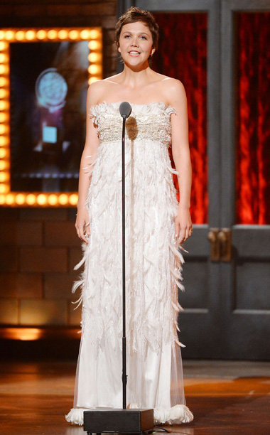 Tony Awards | LOWLIGHT: Introducing a number from Cabaret , Maggie Gyllenhaal appears in feathery dress that made her look like the loser in a down pillow fight.