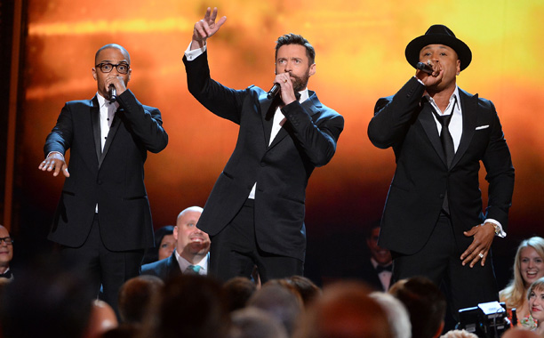 Tony Awards | LOWLIGHT: Hugh Jackman gamely tries to do a rap version of The Music Man with LL Cool J and T.I., but comes off looking like…