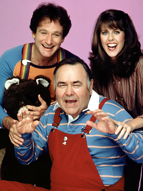 When Mork (Robin Williams) lays an egg, it hatches a bouncing baby Jonathan Winters.