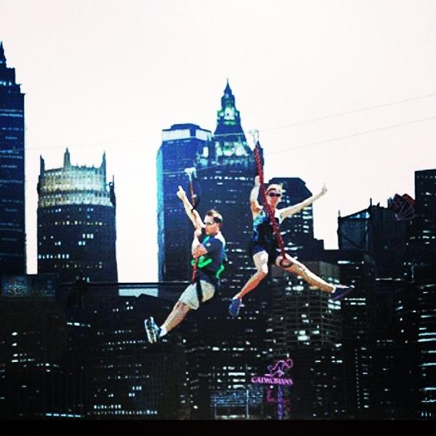 Bat-fans zip-line over Gotham City