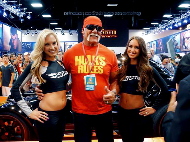 Hulk Hogan is all smiles with the Hot Wheels ladies