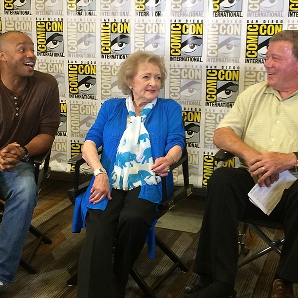 Donald Faison, Betty White, and William Shatner laugh it up at the Legends of TV Land panel