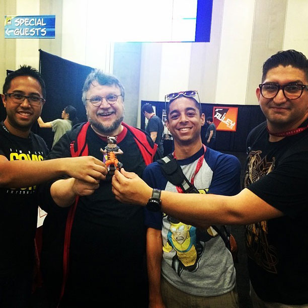 Guillermo del Toro and Rocket Raccoon with fans