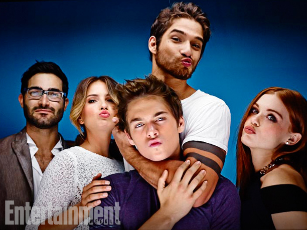 Tyler Hoechlin, Shelley Hennig, Dylan Sprayberry (front), Tyler Posey, and Holland Roden, Teen Wolf