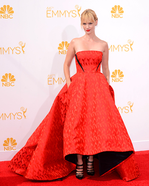 Primetime Emmy Awards 2014 | She said: Yeah, the fabric kind of looks like upholstery...but in a sea of red dresses, that extra texture (not to mention the cool mullet…