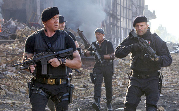 Sylvester Stallone, Randy Couture, Antonio Banderas, Jason Statham, Wesley Snipes, and Dolph Lundgren in The Expendables 3