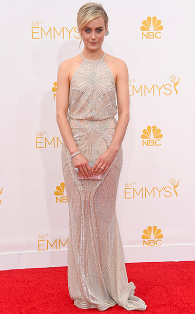 Primetime Emmy Awards 2014 | She said: I'm a sucker for heavily beaded Art Deco-style gowns, mostly because they're kind of costume-y, and I love costumes. The muted nude keeps…