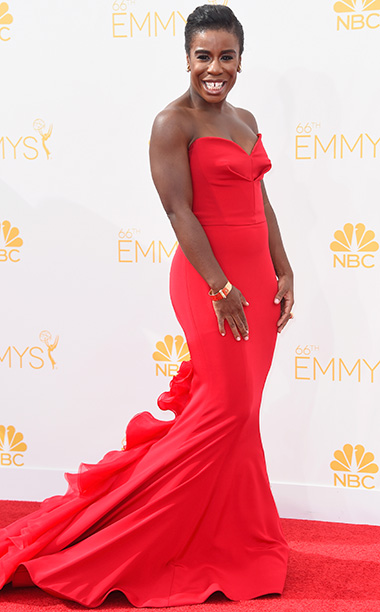 Primetime Emmy Awards 2014 | He said: ''Lotta red this year,'' said Captain Obvious. But I like the classical classiness of this red number. The bracelet helps a bit. I…