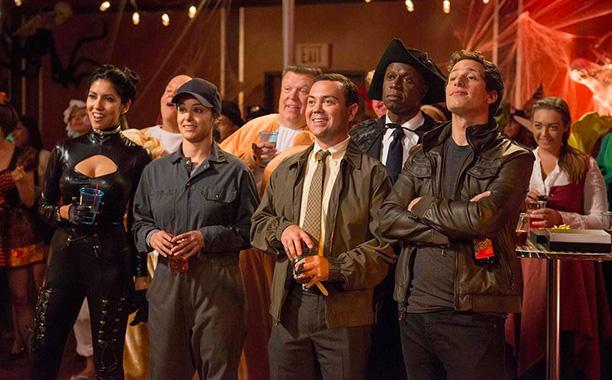 Oct. 19: Rosa (Stephanie Beatriz), Hitchcock (Dirk Blocker), Santiago (Melissa Fumero), Scully (Joel McKinnon Miller), Boyle (Joe Lo Truglio), Captain Holt (Andre Braugher), and Peralta (Andy Samberg), Brooklyn Nine-Nine