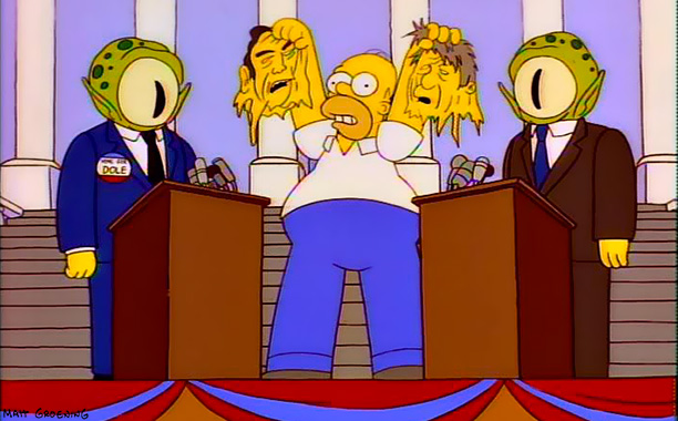 The Simpsons | Treehouse of Horror VII , 1996 President Bill Clinton and Republican presidential candidate Mumbly Joe — sorry, Bob Dole — are replaced by a pair…